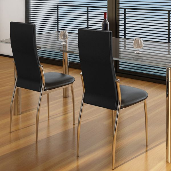 2x Faux Leather Dining Chair w Chrome Legs in Black | Buy ...