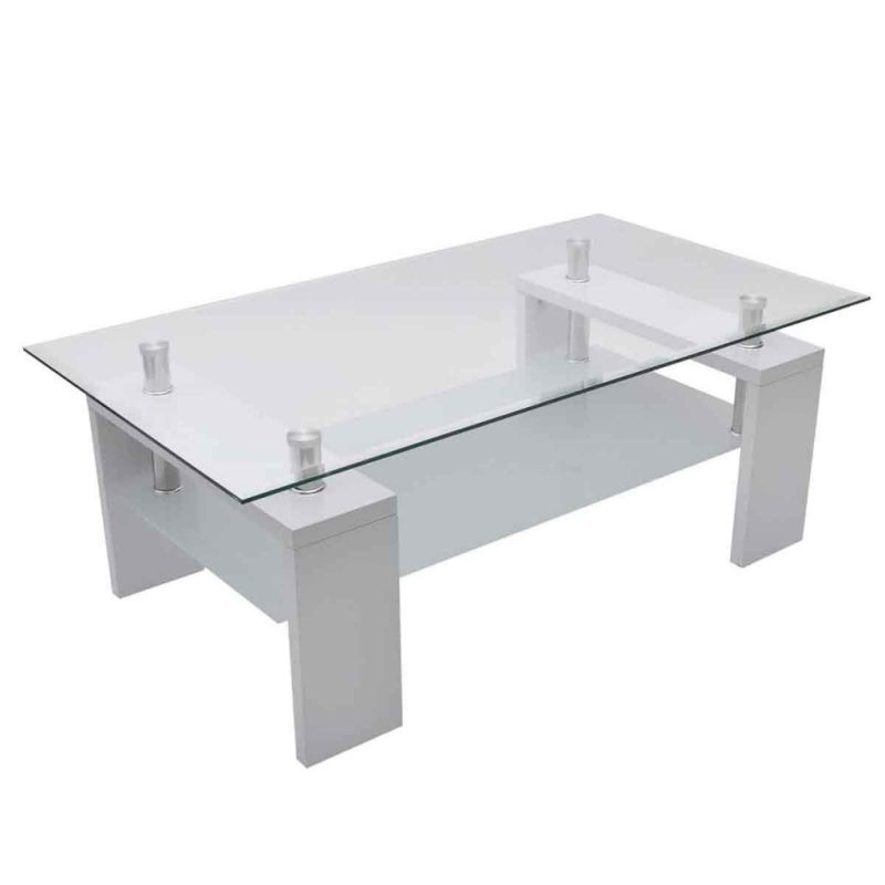 2 Tier MDF & Glass Coffee Table In High Gloss White