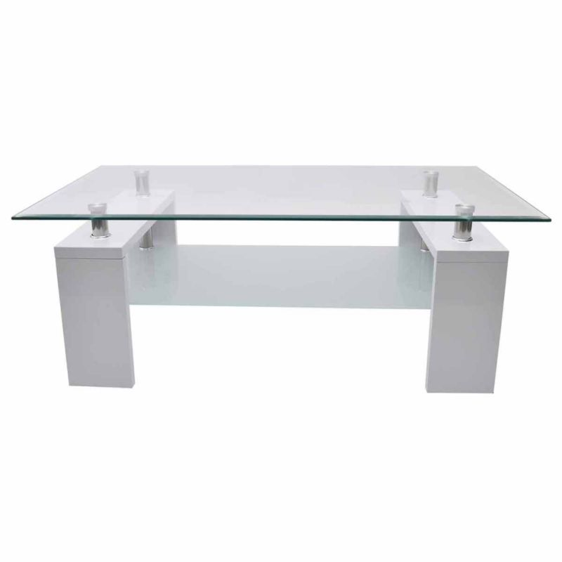 2 Tier Mdf Glass Coffee Table In High Gloss White Buy Coffee Tables