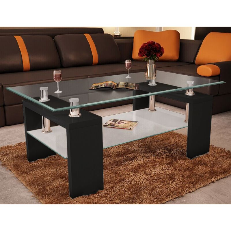 2 Tier MDF & Glass Coffee Table In High Gloss Black