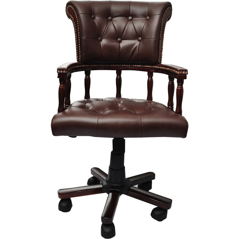 chesterfield captain 39 s swivel desk chair in brown buy. Black Bedroom Furniture Sets. Home Design Ideas