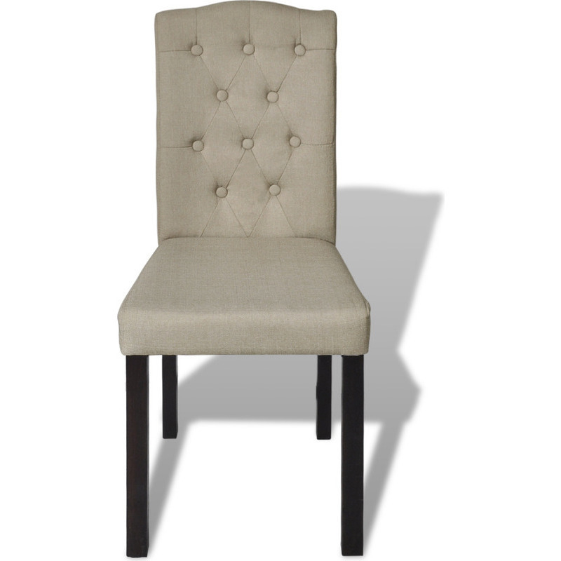Upholstered High Back Dining Chair: 4x High Back Fabric Upholstered Dining Chairs Beige