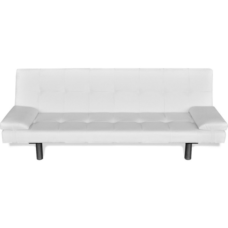 Pillows For White Leather Sofa Click Clack Faux Leather Sofa Bed W 2  Pillows White Buy