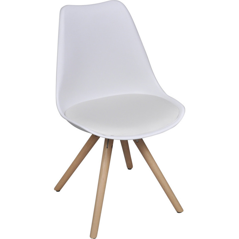 6x eames inspired faux leather dining chairs white buy for Leather eames dining chair