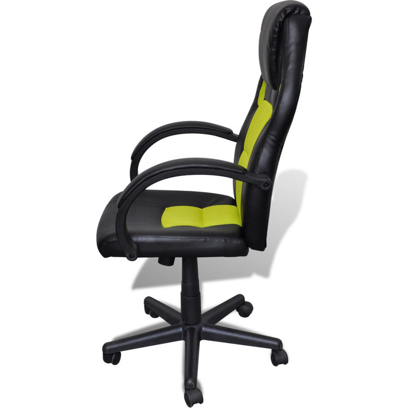 Faux Leather Ergonomic Office Chair Green & Black