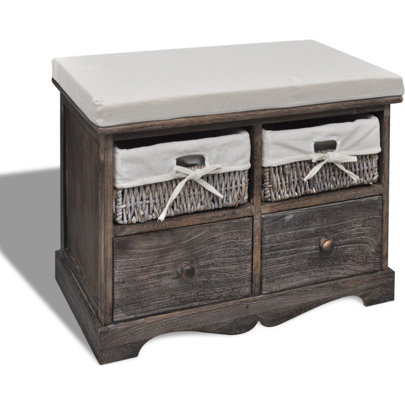 Wood Bench With Drawers ~ Wooden storage bench w drawers baskets in brown buy