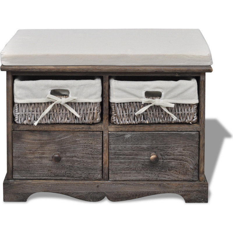 Foyer Bench With Drawers : Wooden storage bench w drawers baskets in brown buy