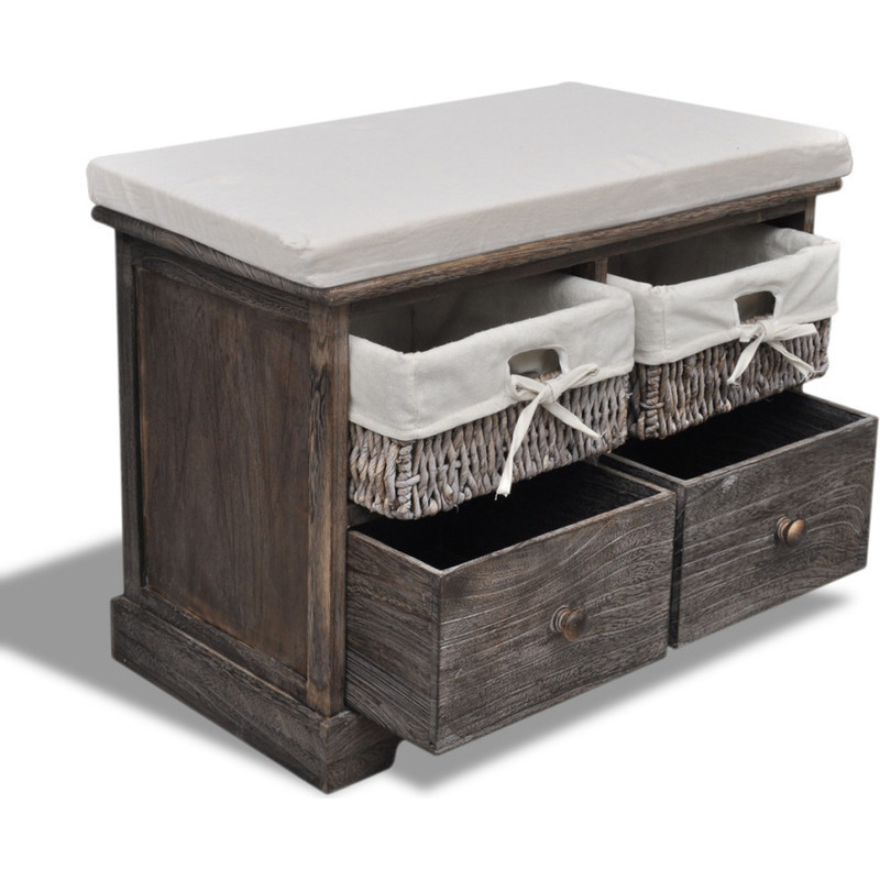 Wooden storage bench w drawers baskets in brown buy
