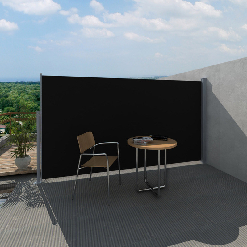 Outdoor Retractable Side Awning in Black 160x300cm | Buy ...