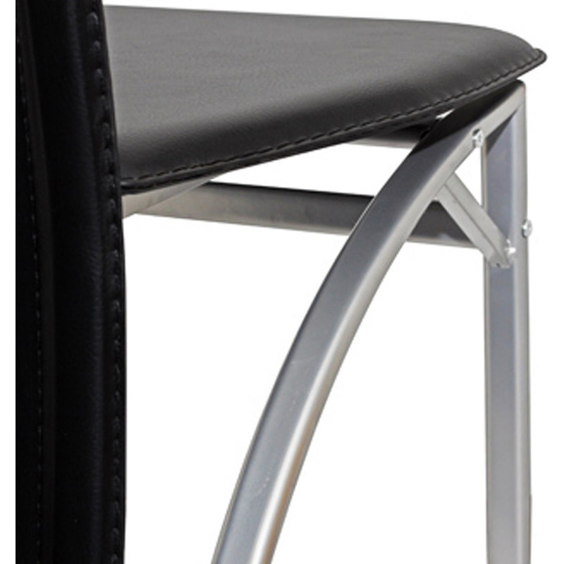 2x high back faux leather dining chair in black buy leather dining