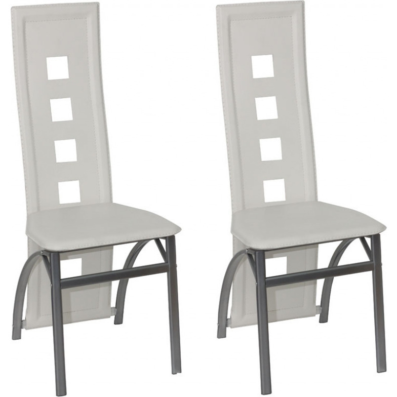 2x high back faux leather dining chairs in white buy for White leather high back dining chairs