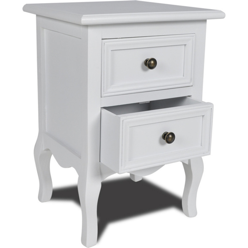 2 drawer mdf wood bedside table nightstand in white buy for White wood nightstand