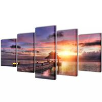Set Of 5 Beach W Pavilion Canvas Prints Framed Wall Art Decor Painting 100X50cm