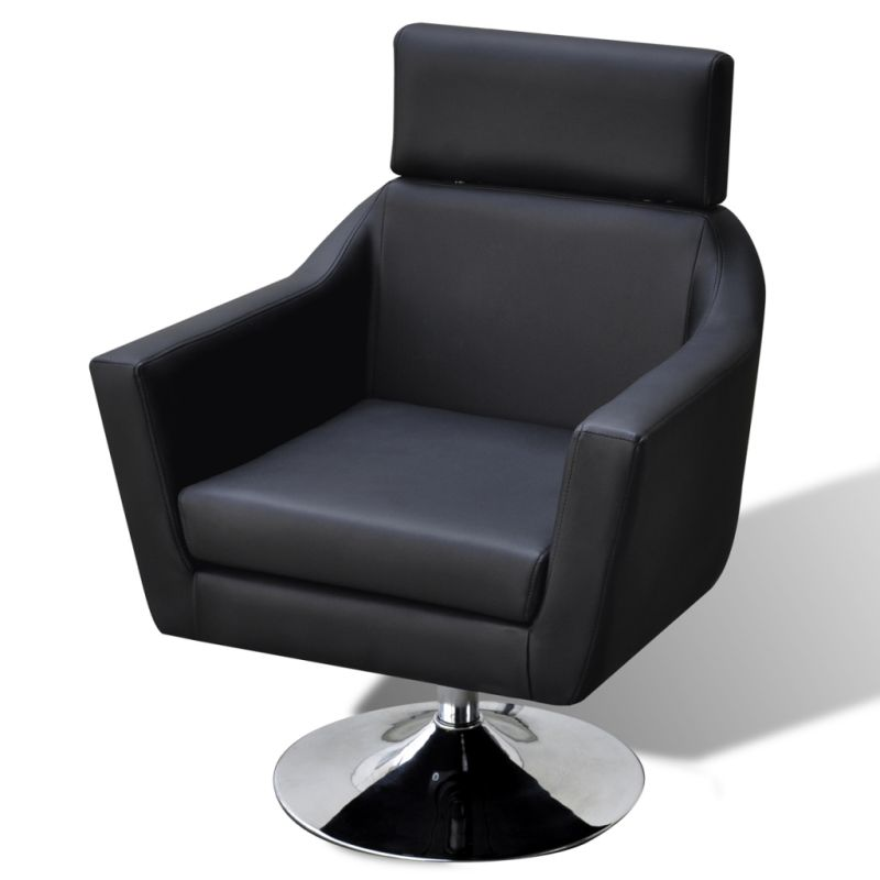 Faux Leather TV Armchair w/ Ottoman Stool in Black | Buy ...