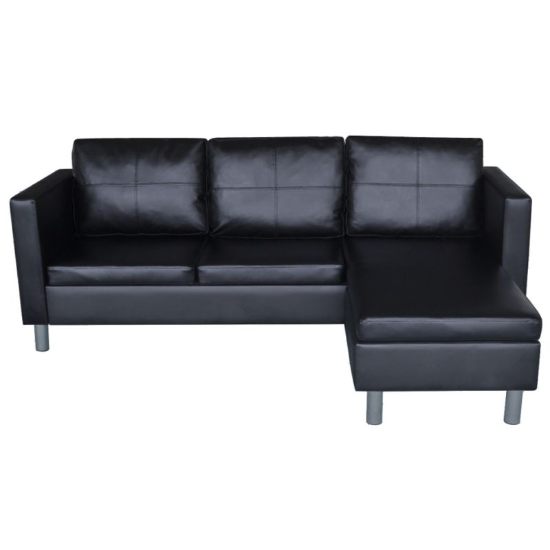 Faux Leather L Shaped 3 Seat Modular Sofa In Black Buy