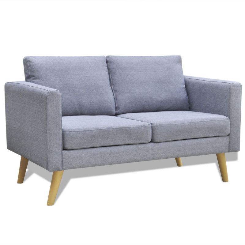 Wide 2 seater polyester fabric sofa in light grey buy for Wide couches