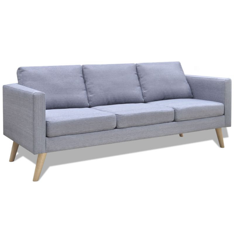 Wide 3 Seater Polyester Fabric Sofa In Light Grey