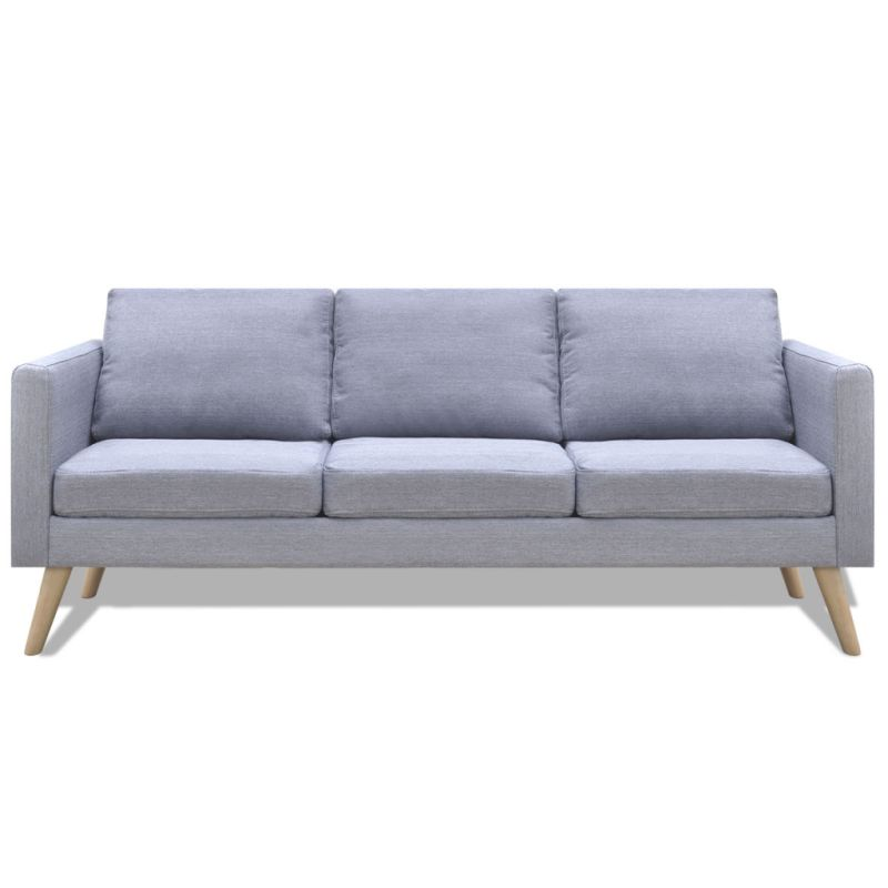 Wide 3 Seater Polyester Fabric Sofa In Light Grey Buy Sofas