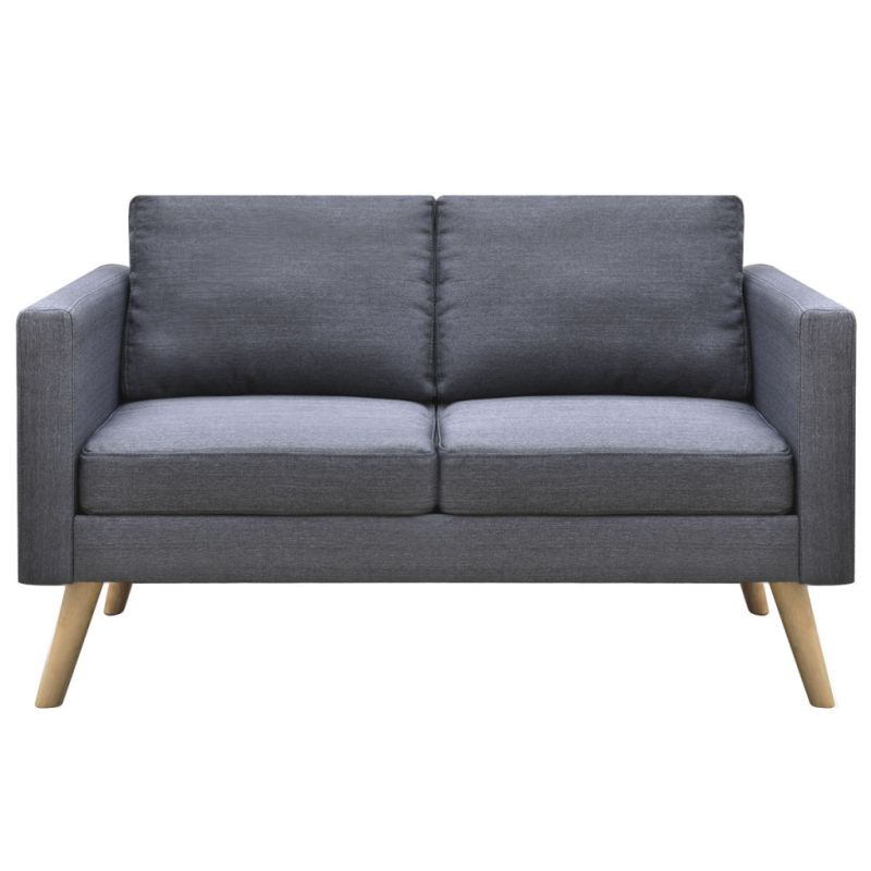 Wide 2 seater polyester fabric sofa in dark grey buy sofas for Wide couches