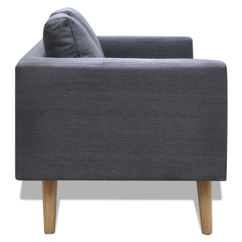 Wide 2 Seater Polyester Fabric Sofa In Dark Grey Buy Sofas