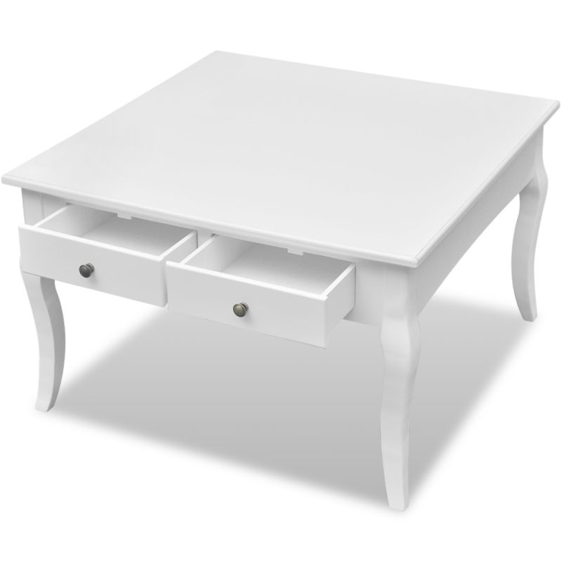 Mdf Wood Square Coffee Table W 4 Drawers In White Buy Coffee Tables