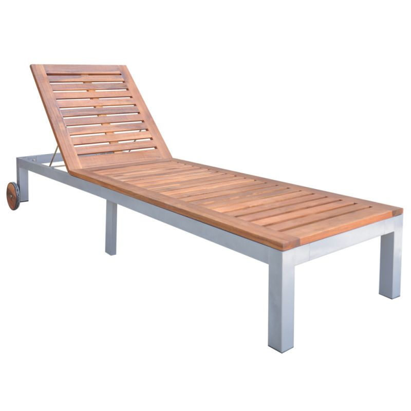 Single acacia wood sun lounge day bed w 2 wheels buy for Acacia wood chaise lounge