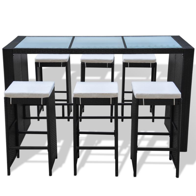 Pe rattan glass 6 seat outdoor bar set in black buy - Table haute 6 personnes ...
