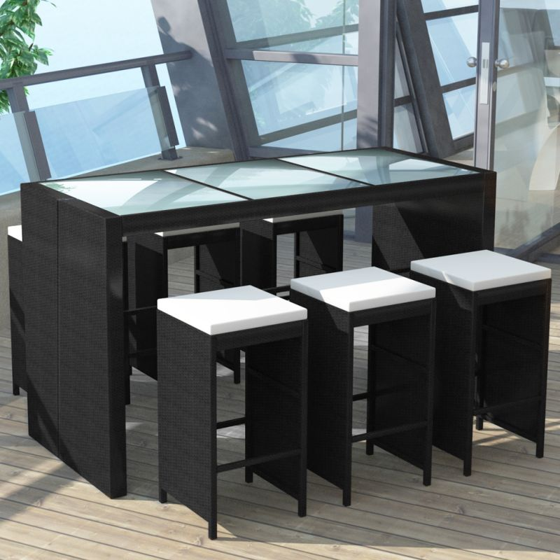 pe rattan glass 6 seat outdoor bar set in black buy outdoor bar sets. Black Bedroom Furniture Sets. Home Design Ideas