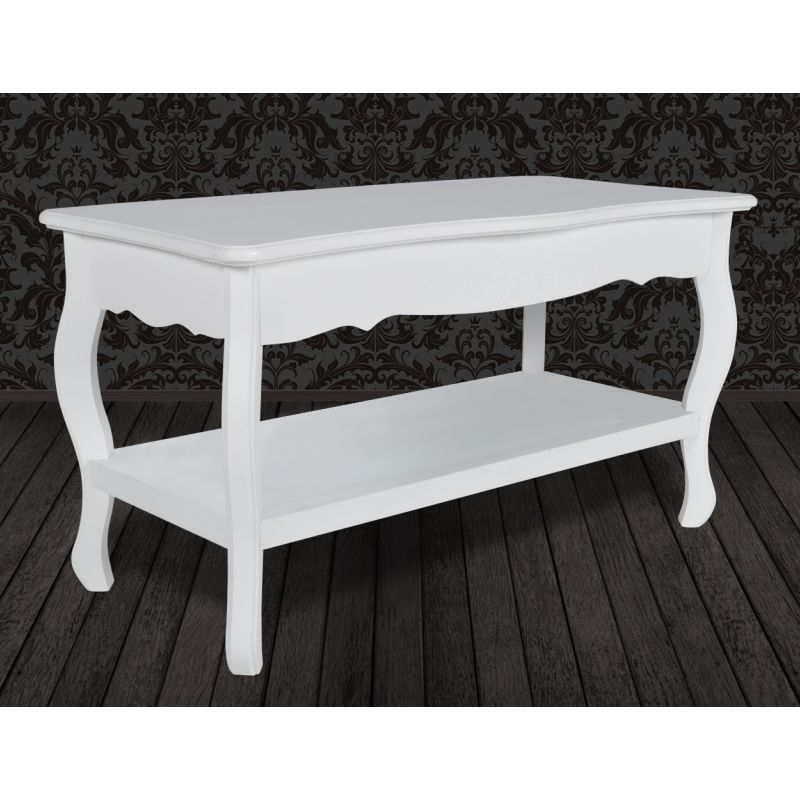 French Provincial Coffee Table Set: 2 Tier Wooden French Provincial Coffee Table White