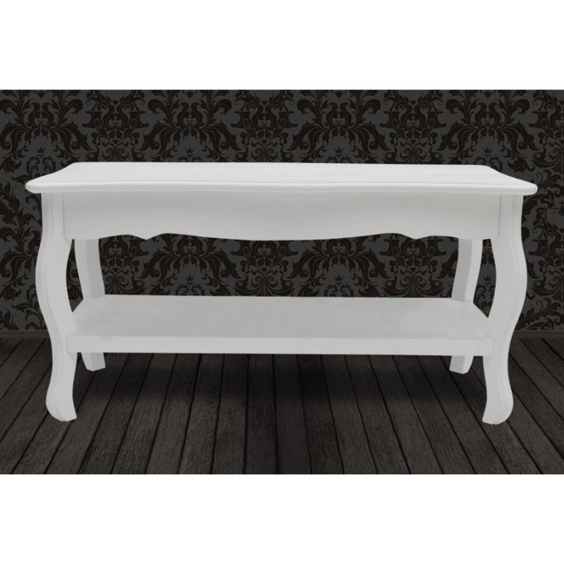 French Provincial Coffee Table For Sale: 2 Tier Wooden French Provincial Coffee Table White