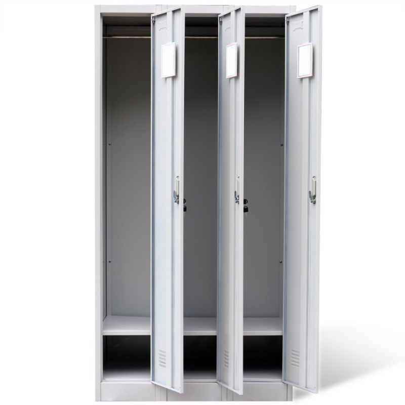 Steel Office Cabinet Locker W 3 Doors In Grey 180cm Buy
