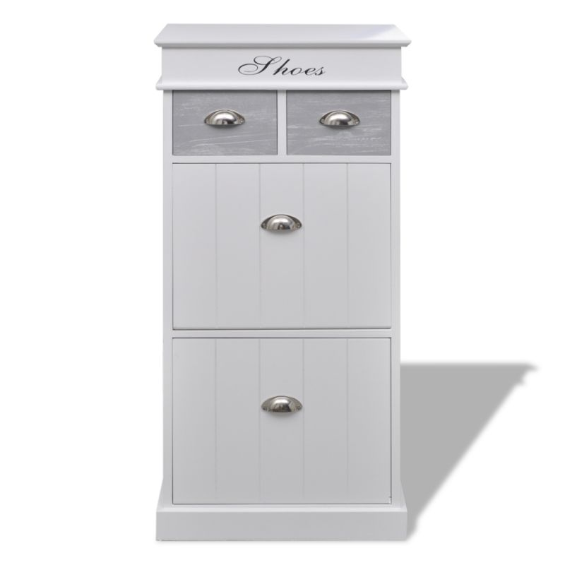 Mdf Wood Kitchen Cabinets: MDF Wood Shoe Cabinet With 5 Compartments In White