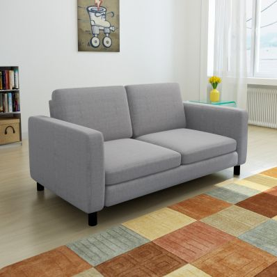 Modern 2 Seat Fabric Upholstered Sofa in Light Grey | Buy ...