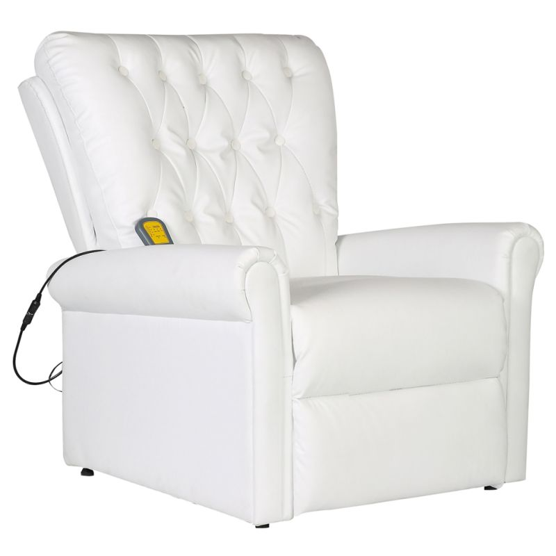 Faux Leather Electric Recliner Massage Chair White