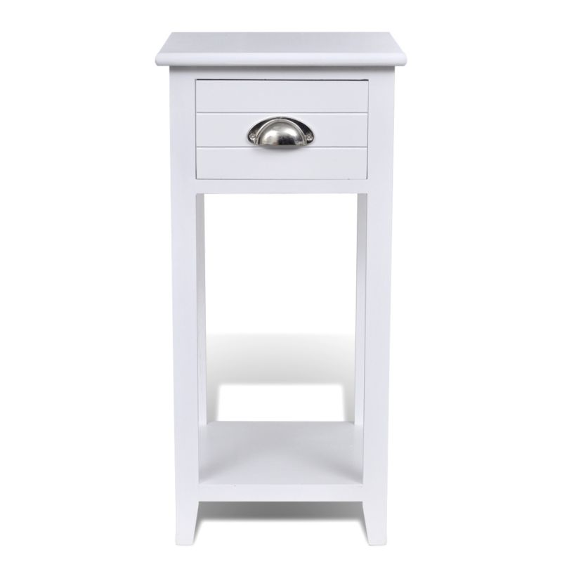 Wooden Telephone Side Table With Drawer In White