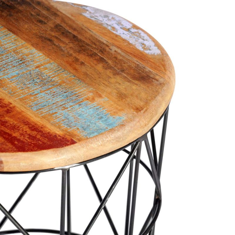 Reclaimed Wood Coffee Table Round: 2pc Round Reclaimed Wood Coffee Tables 35cm / 45cm