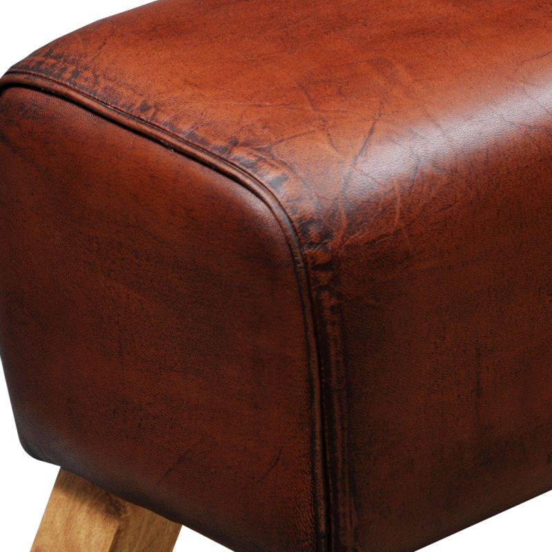 Leather Ottomans Set Of Three ~ Genuine goat leather ottoman bench in brown cm buy