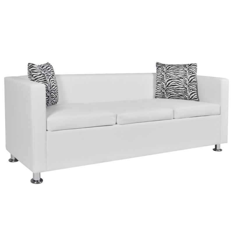 Pillows Leather Sofa: 3 Seat Faux Leather Sofa W/ Throw Pillows In White
