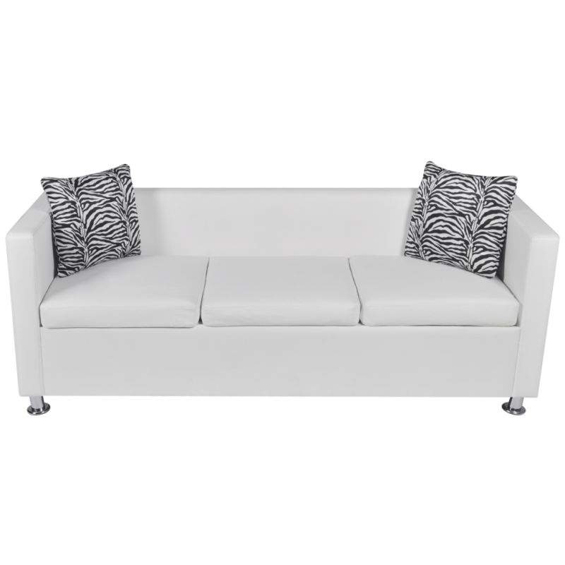 3 Seat Faux Leather Sofa W Throw Pillows In White Buy
