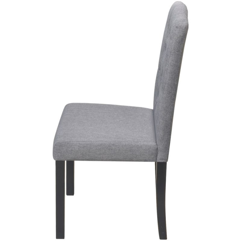 4x Wood Amp Fabric Upholstered Dining Chairs In Grey Buy