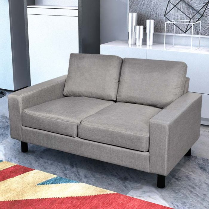 Grey Lounge Suite: Modern 5 Seat Fabric Upholstered Sofa Set In Grey