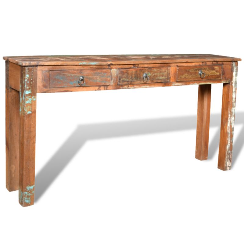Vintage reclaimed wood hall table with 3 drawers buy console tables - Used console table for sale ...
