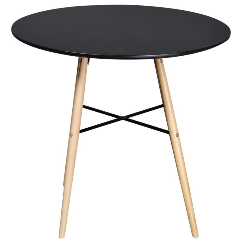 Round Mdf Wood Dining Table In Matte Black 80cm Buy
