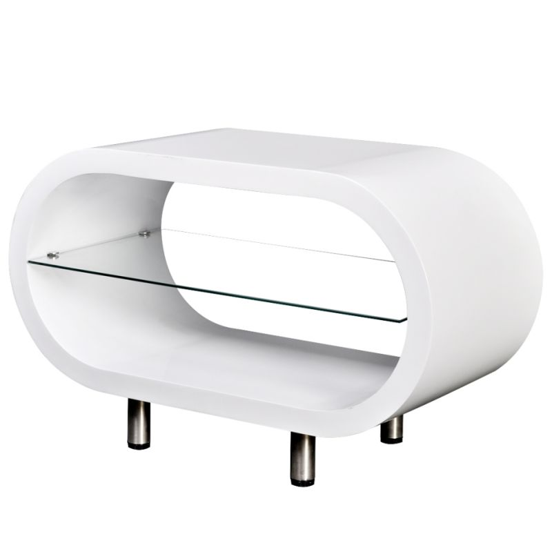 Oval Coffee Table Or TV Stand In High Gloss White