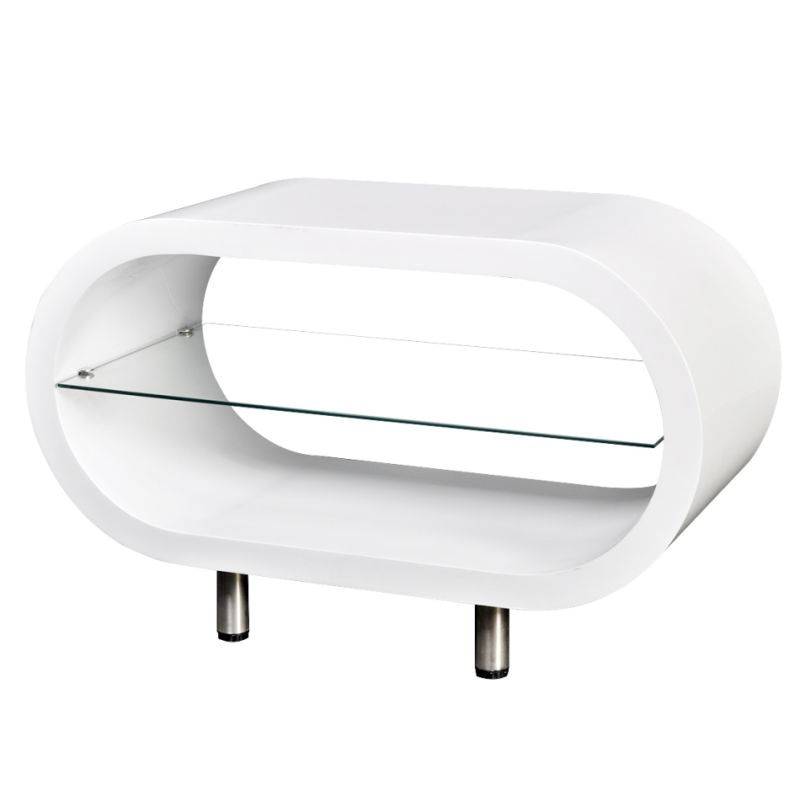 White Coffee Table Oval: Oval Coffee Table Or TV Stand In High Gloss White