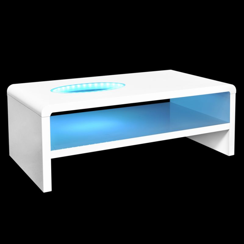 Led Light Coffee Table In High Gloss White 42cm Buy Coffee Tables