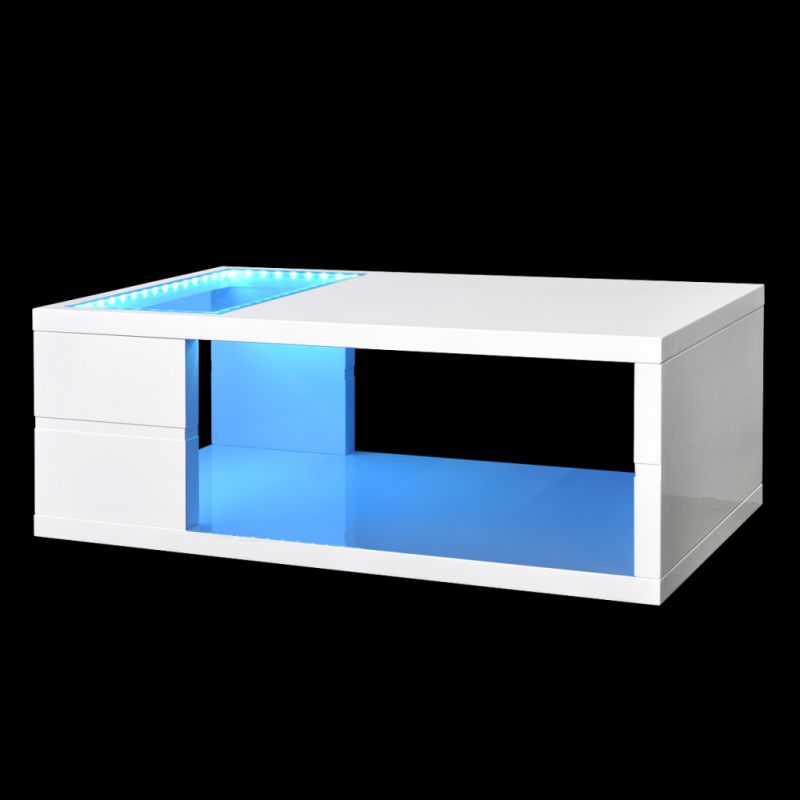 Rectangle High Gloss White Coffee Table With Led Lighting: LED Light Coffee Table In High Gloss White 41.5cm