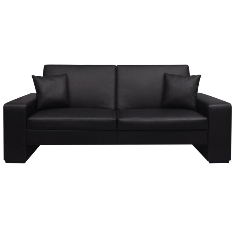 Faux Leather Sofa Bed w/ 2 Throw Pillows in Black Buy Sofa Beds