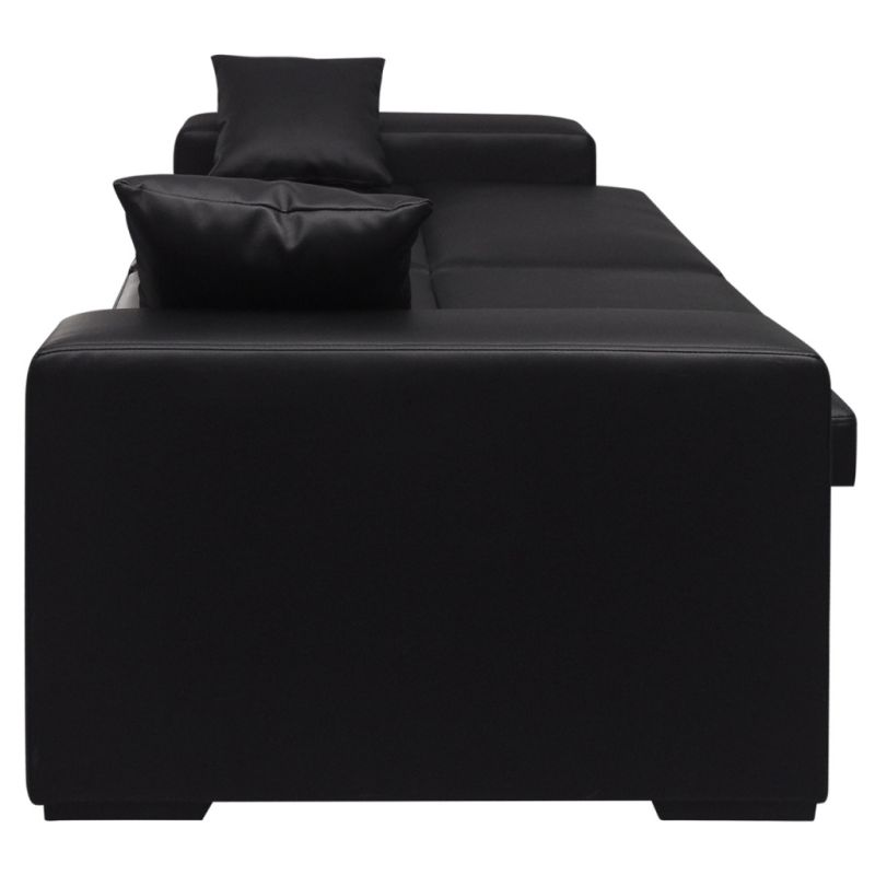 Faux Leather Sofa Bed W 2 Throw Pillows In Black Buy