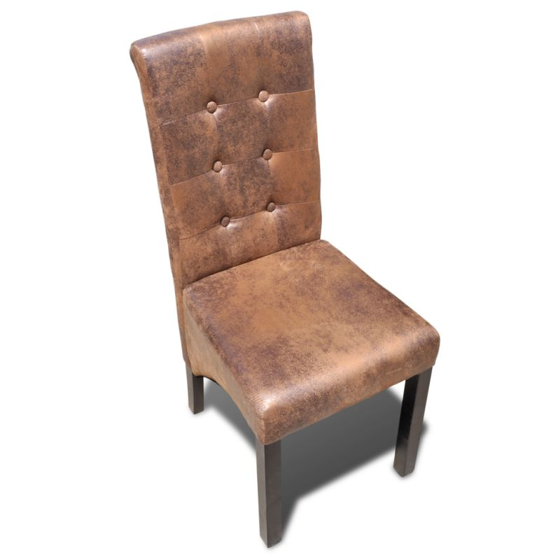 6x Suede Look Polyester Fabric Dining Chair Brown Buy